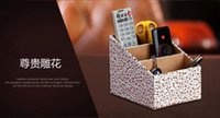 Wholesale 3 Slot PU Leather Desktop remote Holder with Free Cable Organizer makeup storage box Cosmetic white Gold Decorative Pattern