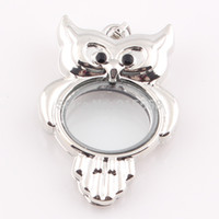 Cheap Origami owl locket Floating Living Glass Memory photo locket Floating charms Owl locket Pendant BE353