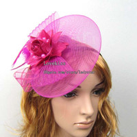Wholesale Women Feather Hair Clip Fascinator Decoration Cocktail Hair Accessory Party Lace Feather Flower Hair Bows C1774