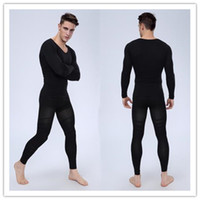 Cheap Men Body Shaper Suits [Shirt+Pants] Compression Slim Corsets Black Waist Girdles Carry Buttock Thin Leg Male Fat Burn Underwear