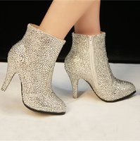 Cheap 2014 Hot Selling 10cm High Heels Luxury Crystal Rhinestone Beauty Prom Evening Party Dress Women Lady Bridal Wedding Boots Shoes DL1313729
