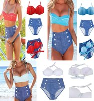 Wholesale New Summer Sexy Vintage High Waist Bikini Swimsuit Swimwear Push Up Bikinis Set Bathing Suit For Women S M L XL