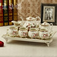 Wholesale European and American style classic home ivory porcelain tea sets ceramic coffee cup red cup coffee pot tray package
