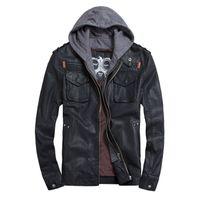 Wholesale New Fashion Men s Sweater Jacket Autumn Winter PU Leather Hoodie jackets Black Brown High Quality Men Zipper Slim Coat Brand THOOO
