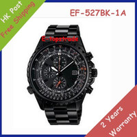 Wholesale New Mens Sports Chronograph Black Steel Watch EF BK AV EF BK BK Gents Wristwatch Second Stopwatch Pendulum Swing Function