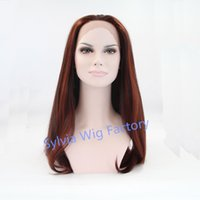 auburn hair highlights - natural look premium brown highlight wigs natural straight wig dark roots lace front wig heat resistant Synthetic Hair in stock