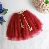 Wholesale Baby Girls Tulle Lace Dresses Kids Girl Fall TuTu Princess Skirt With Star Sash Girl Korean Style Ruffle Dress Babies clothes