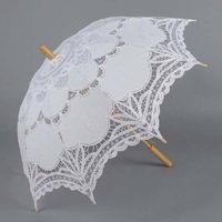 Wholesale 50pcs Bridal s umbrella white embroider beach umbrella wedding Parasols DHL ship