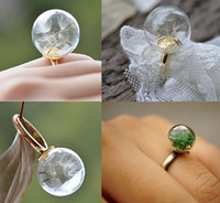 band shades - 14MM MM Clear Glass Round Shade Locket Rings Custom Insert Natural Dandelion Moss Plants Charms ring