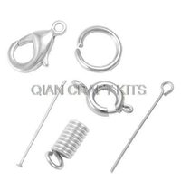 lobster claw - set of Jewelry DIY Findings Kit Jumprings eye pins lobster claw clasps Headpins spring cord ends in plastic container