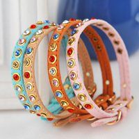 Wholesale Colorful Rhinestone Dog Collar Crystal Diamond Pet Dog Puppy Suede Leather Collar