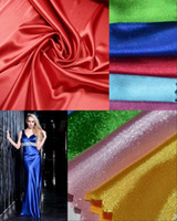 fabric polyester - Top Quality Elastic Satin Fabric For Evening Prom Dresses Skirt Emulation Silk Fabrics Clothing Polyester Fabrics Many Colors Available