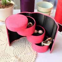 Wholesale Amazing New Jewelry Display Casket Jewelry Box Organizer Flannel Round Portable Jewelry Case for Jewelry Storage GW01008
