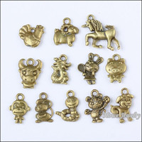 antique chinese plates - 72 Vintage Charms Chinese Zodiac Pendant Antique bronze Fit Bracelets Necklace DIY Metal Jewelry Making10044 metal love charm