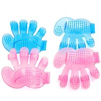 Wholesale IMC Dog Cat Rabbit Pet Grooming Brush Fur Massage Glove Brush Blue order lt no track