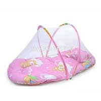 Wholesale New Net Safe Baby Skin from Mosquito Flying Good Sleeping Portable Baby Infant Bed Crib Folding Mosquito Net Cushion Pink Blue