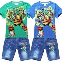 jeans lot - 2014 Children Ninja Turtles Short Sleeve T Shirt Sets Boy T Shirt Tops Jeans Kid Clothes Children s Jeans Outfits Set G1B52C