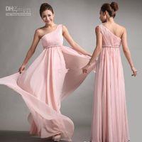 Cheap 2015 Bridesmaid Dresses Sweet princess Greek Style Goddess One-shoulder Bare Pink Party Dress BD004
