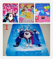 Wholesale 3D Cartoon Frozen Elsa Anna Olaf Princess blanket Peppa Pig Spider Man Cars polar fleece carpet mat the gift for children Kid baby