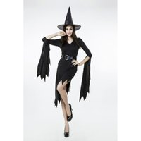 adult wicked witch costume - Adult Women Disfraces Halloween Wicked Witch Costume Night Fancy Dress Up With Hat Sexy Clubwear Party Wear Plus Size M XL PS14