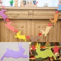 Wholesale Multi colors Non woven Fabrics Easter Day DIY Home Decoration Rabbit Flag Bunny Star Pendant For Easter Day Festival Decoration