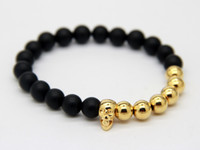 Wholesale 2015 Hot Sale New Design Jewelry Top Quality Real Gold plated Skull Yoga Bracelet with Natural Matte Agate Stone Beads