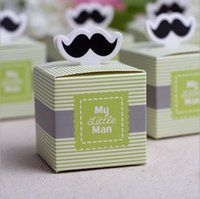 baby boy souvenirs - 30pcs My little Man Cute Mustache Birthday Boy Baby Shower Favor boxes and bags wedding souvenirs wedding favors and gifts