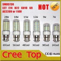 Wholesale Energy saving LED Corn Bulbs W W W W W W LED Bulbs E14 E27 B22 GU10 G9 Lamp Base Plastic and Metal Material