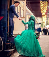 Cheap plus size green wedding gown Best islamic wedding dresses