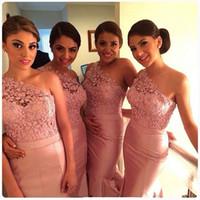 green wedding dress - 2015 Fashionable Cheap Bridesmaid Dresses Mermaid One Shoulder Floor Length Pink Lace Taffeta Sleeveless Wedding Party Bridesmaids Dresses