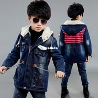 autumn cashmere jeans - Spring xayakids Kids Boys Winter Coat new children jeans and leisure Korean cashmere coat thick tide