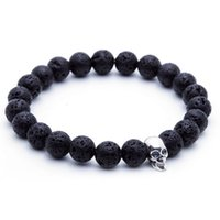beaded braclet for men - SN0449 MM Rocky Lava Stone Skull Bracelet Man Christmas Gift Jewelry Natural Stone Stretchy Charms Braclet colors For Choice