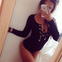 bodysuit - 2016 Hot Sexy Womens Bodycon Jumpsiut With Gold Chains Black White Red Bodysuit Long sleeves Rompers s m l xl WY8523