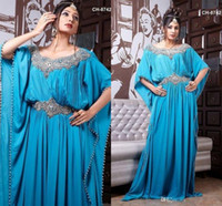 best abayas - Best Selling Royal Blue Chiffon Prom Dress Beading A Line Abaya Kaftan Formal Gowns Muslim Evening Dresses Floor Length Dubai Dress