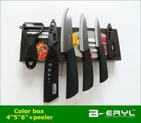 aluminum handle kitchen knife - BERYL set kitchen knives peeler color box Ceramic Knife sets colors ABS handle BLACK blade