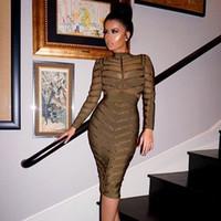Cheap HLBandage Black Olive Green Studded Long Sleeve Mesh Nail Beaded Celebrity Sexy Women 2016 New Fashion Bodycon HL Bandage Dress