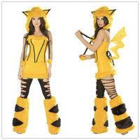 Wholesale Pikachu Cosplay Sexy Fur Animal Costumes For Women Kigurumi Deluxe Yellow Mouse Costume Set Uniforms Outfits O31192