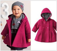 Wholesale Retail Toddler Baby Hoodies Coats Baby Girls Pure Color Keep Warm Winter Jackets Outwear Kids Clothing Infant Baby Double Breasted Coat