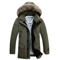 Wholesale Fall Winter Men s Down Jackets duvet Male Fashion Thick Warm Middle long overcoat big Fur Collar Hooded Outdoor casual snow coats