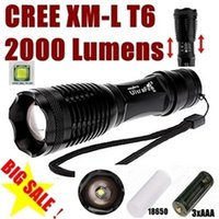 Wholesale USA EU Hot Sel E007 CREE XM L T6 Lumens Mode cree led Torch Zoom LED Flashlight Torch For xAAA or x18650
