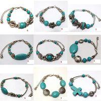 african turquoise beads - Bohemian TURQUOISE Stone Balls Beads Tibetan Silver vintage retro Bracelet Bangle jewelry