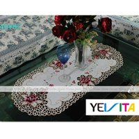 oval tablecloth - YEVITA Vintage Embroidered Rose Cutwork Tea Tablecloth Oval Lace Table Cover x85cm