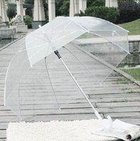 Wholesale 100PCS LJJL53 Transparent Sunshade Rain Umbrella Stars Long Handle Parasol Clear Dome contracted self motion open an umbrella
