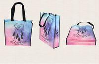 Ciel étoilé / floral sac fourre-tout de support de membrane non-tissé imprimé vert sac de magasinage réutilisable shopper sac pliage