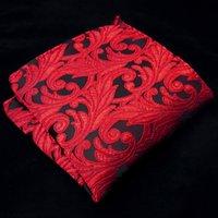 mens tie handkerchief - JH13 Handkerchiefs Floral Red Crimson Black Pocket Square Mens Ties Jacquard Woven Handkerchieves New