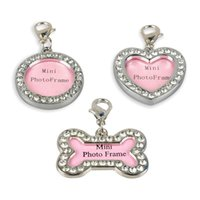 Wholesale Pet ID Tags Dog Cat Name Information Card Personalized Photo Frame Puppy DIY Rhinestone Bone Heart Star Jewelry Supply