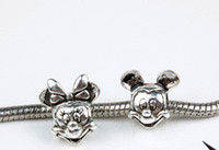 Wholesale 20pcs by sold The Female Mickey Alloy Beads Jewelry The Beauty Cute Mickey Alloy Bracelet Beads