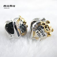 Wholesale Diy Stamp quot quot Golden Aniaml Beads Silver Plated With Crystal I Love You Mouse Heart Loose Beads For European Snake Bracelets