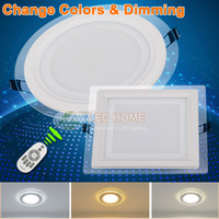 Wholesale High quality aluminum Glass LED downlight Remote control colors dimming and single color light for choosing round and square shapes W W