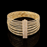 Wholesale New Fashion Statement Multilayer Gilt Diamond Bracelet K Gold silver Plated Bangles Bracelet Women Gift Jewelry